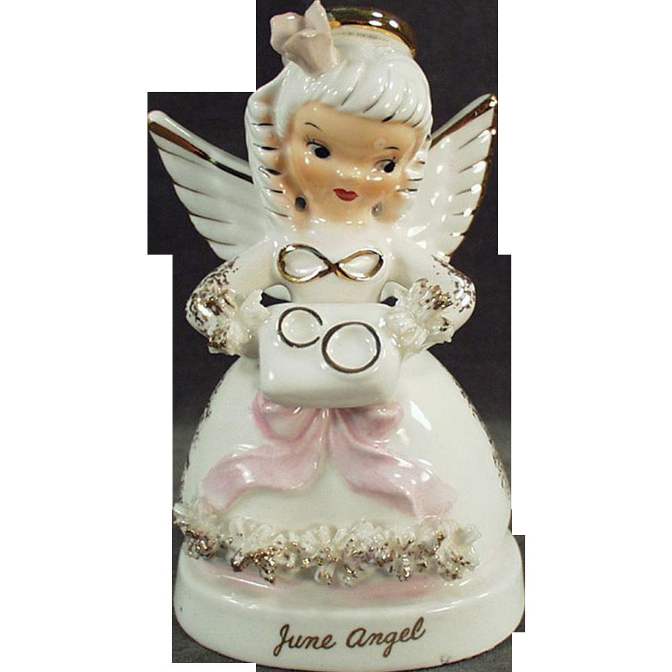 Vintage Porcelain Angel - June Angel with Wedding Rings