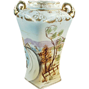 Vintage Hand Painted Porcelain Vase - Pretty Scene with Gold Embellishments