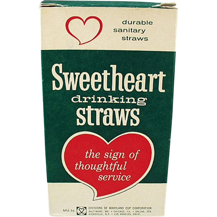 Box of Vintage Sweetheart Paper Straws - Large Box of Thin Straws
