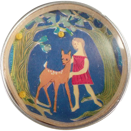 Vintage Dexterity Puzzle with Mirror Back - Little Girl with Deer