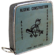 Vintage Steel Tape Measure - 1/4 & 1/8 Scale - Algene Construction Company Advertising