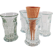 4 Vintage Ice Cream Cone Glasses for Soda Fountain Use