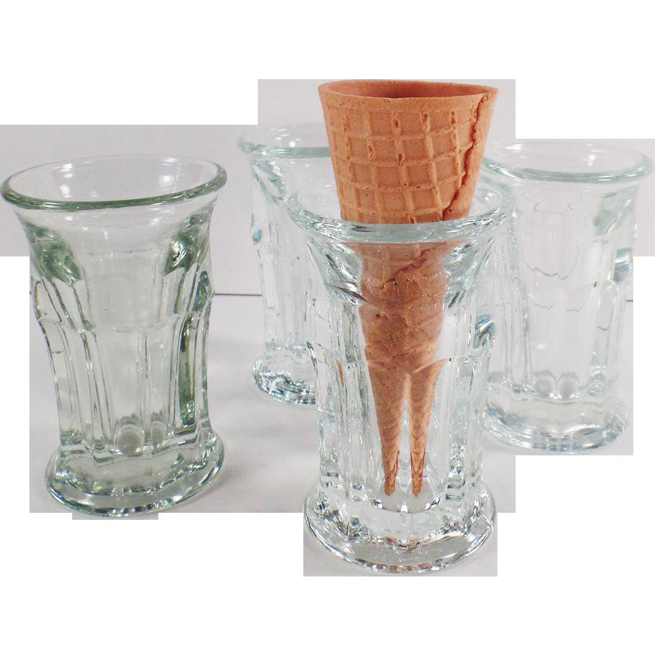 4 Vintage Ice Cream Cone Glasses for Soda Fountain Use