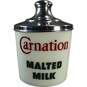 Vintage Carnation Malt Canister - Milk Glass with Aluminum Lid