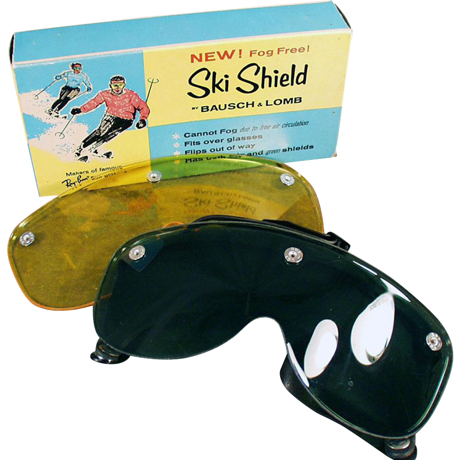 Vintage Bausch & Lomb Ski Shield - Original Box with Two Lenses