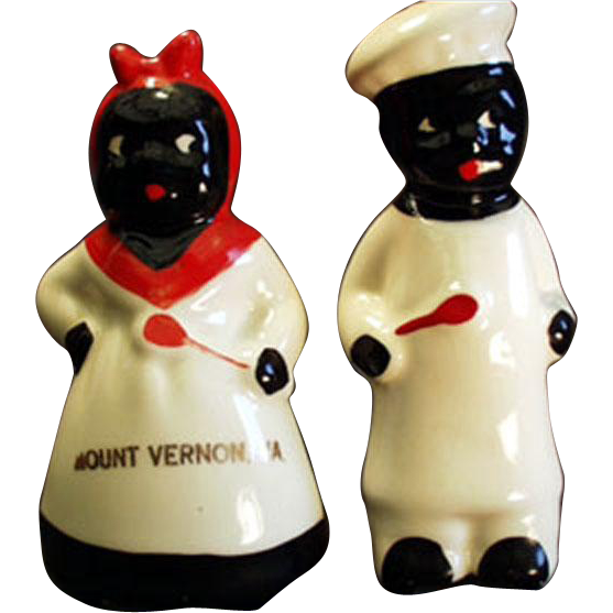 Vintage Black Memorabilia Salt & Pepper Set - Mammy & Chef - Virginia Souvenir