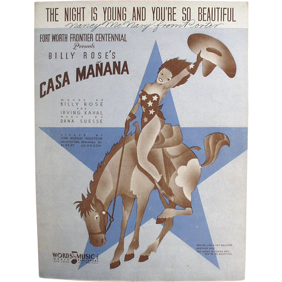 Vintage Sheet Music - The Night is Young & You're So Beautiful - 1936
