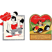 Two Vintage Valentines – Kids in Toy Vehicles