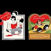 Two Vintage Valentines – Kids in Toy Vehicles