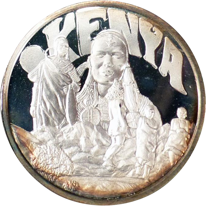 Sterling Silver Ingot - Hamilton Mint Countries of the World Series - Kenya