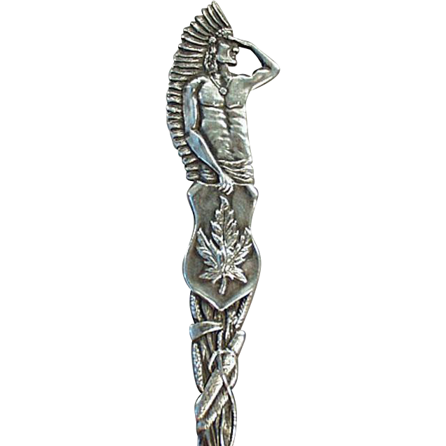 Vintage Canadian Souvenir Spoon - Sterling Silver - Indian Figure with Great Detail