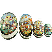 Set of Vintage Nesting Easter Eggs - Colorful and Very Cute