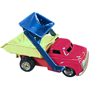 Vintage Tin Toy Dump Truck with Front End Scoop - Linemar