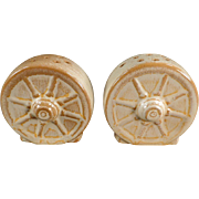 Vintage Frankoma Salt & Pepper Set - Wagon Wheel Pattern - Desert Gold Glaze on Ada Clay
