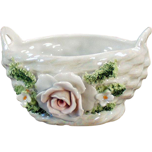 Vintage Porcelain Basket with Applied Rose and Flowers - German