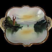 Vintage Hand Painted Nippon Porcelain - Handled Nut Dish