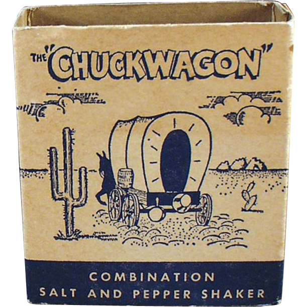 Vintage Salt & Pepper Set - Chuckwagon with Airstream Advertising