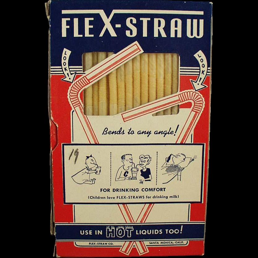 Vintage Paper Flex-Straws in Original Box