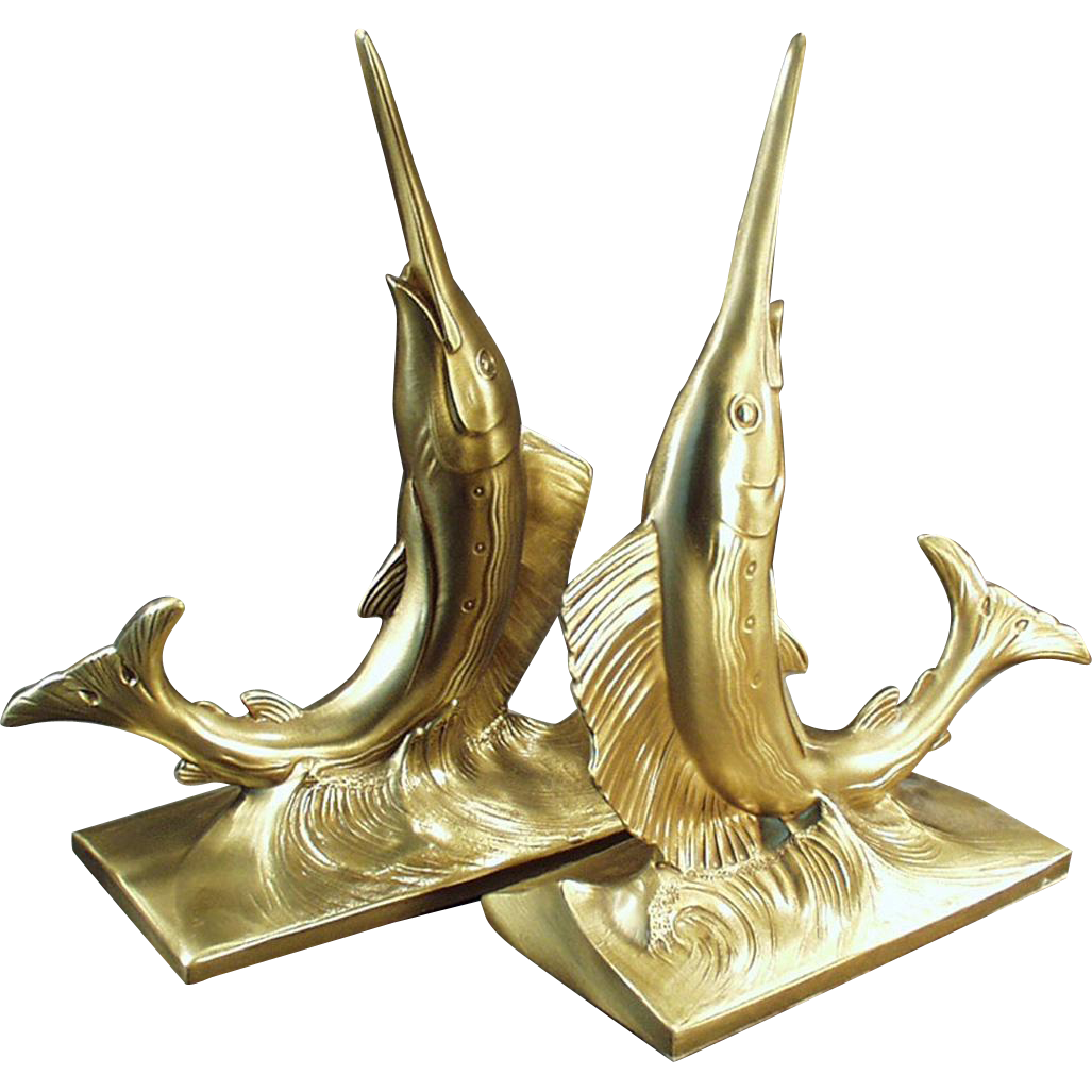 Vintage PM Craftsman Bookends - Stunning Swordfish - Philadelphia Manufacturing Co.