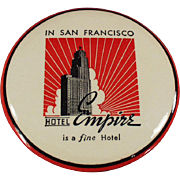 Vintage Celluloid Backed Clothes Brush Advertising the San Francisco Hotel Empire