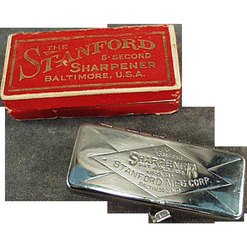 Vintage Razor Blade Sharpener - Stanford 5 Second Sharpener with Original Box