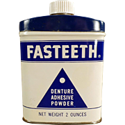 Vintage Tooth Powder Tin - Fasteeth Denture Adhesive Powder Tin