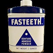 Vintage Tooth Powder Tin - Fasteeth Denture Adhesive Powder Tin