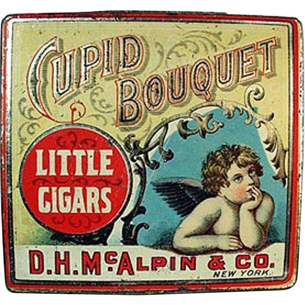 Vintage Tobacco Tin - Cupid Bouquet Little Cigars - Nice Cherub Graphics
