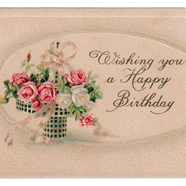 Vintage Birthday Postcard - Pretty Basket of Pink Roses