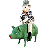 Vintage Saint Patrick's Day Candy Container - Paddy and the Pig - German