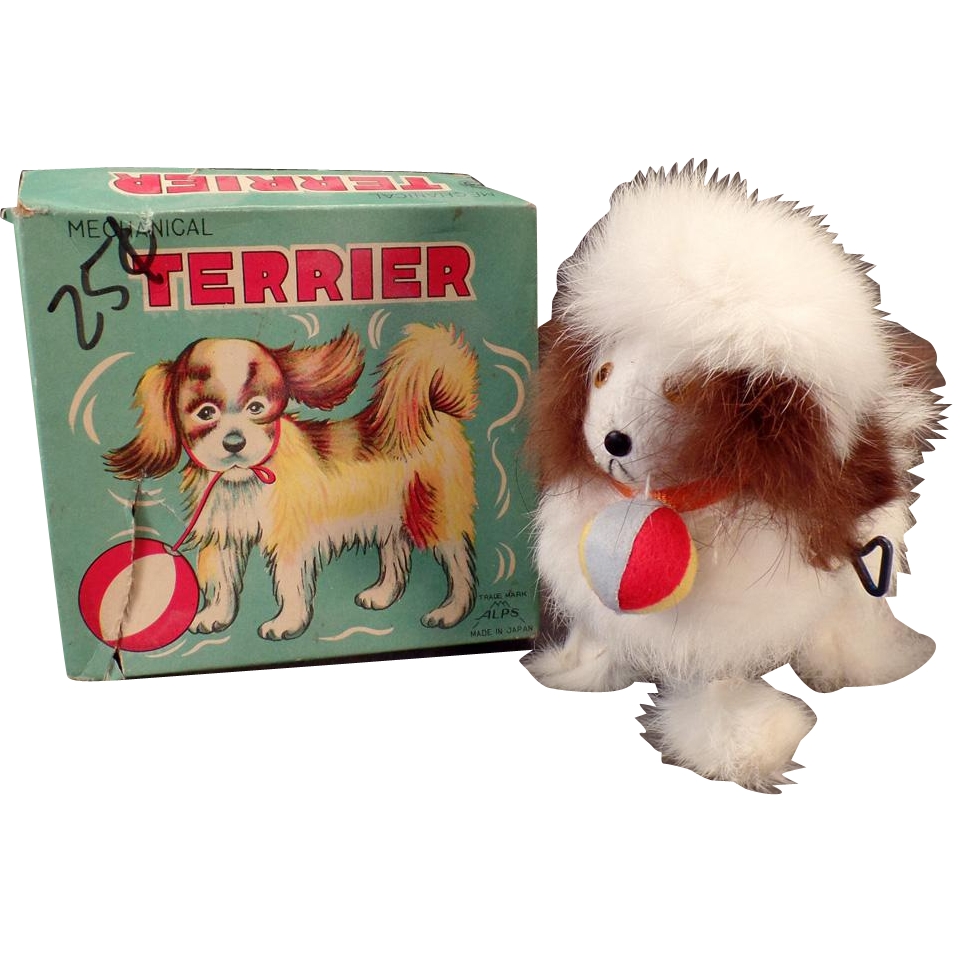 Vintage Wind-up Toy - Alps Plush Terrier with Original Box