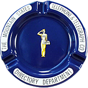 Vintage Yellow Page Directory Advertising - Porcelain Metal Ashtray