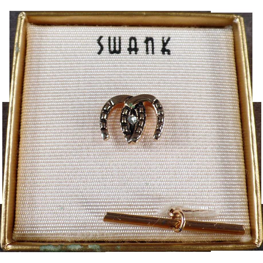 Vintage Swank Tie Clip - Double Horseshoes with Original Box