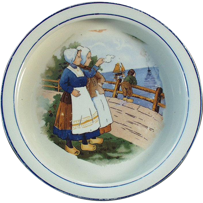Vintage Baby Plate with Young Dutch Girls