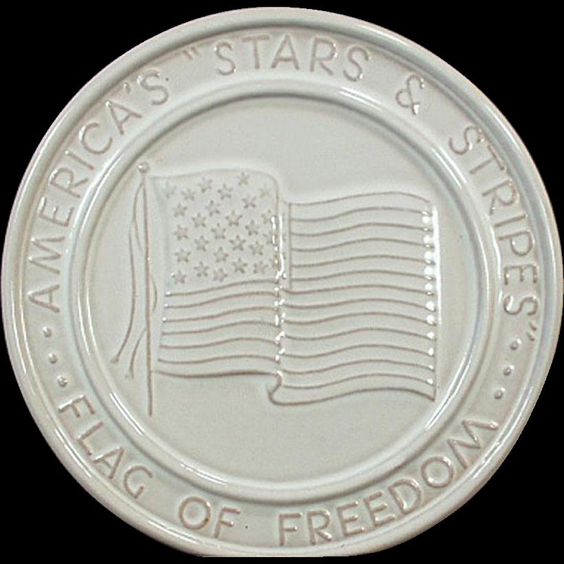 Vintage Frankoma Pottery Trivet - Stars & Stripes American Flag