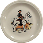 Vintage Hopalong Cassidy Dressed in Black Dinner Plate