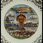 Vintage Souvenir Plate - Oklahoma Landmarks Will Rogers