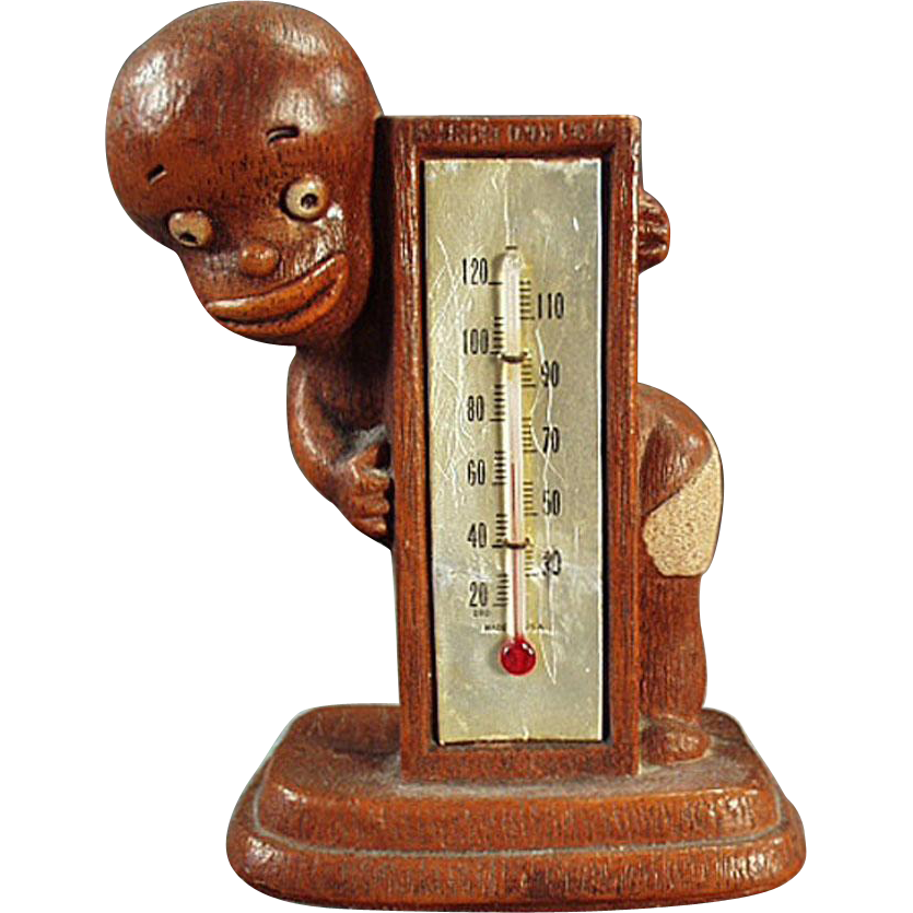 Vintage Black Memorabilia - Old Multi-Products Black Boy Thermometer - 1949