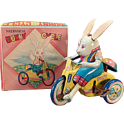 Vintage Wind Up Tin Toy – Bunny Cycle with Original Box – Sato Japan - Easter Rabbit on a Tricycle