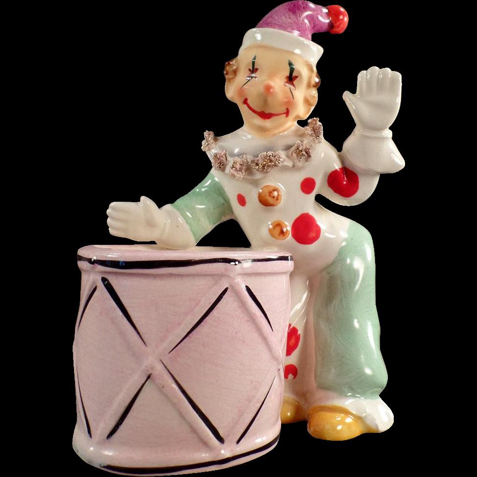 Vintage Ceramic Planter with Fun Clown Figure