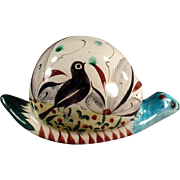 Old Mexican Pottery Snail with Bird Design & Colorful Glaze