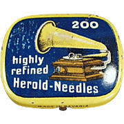 Vintage Phonograph Needle Tin - Highly Refined Herold - Partially Full