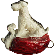 Vintage Tape Measure - Celluloid Terrier with Little Puppy Dog