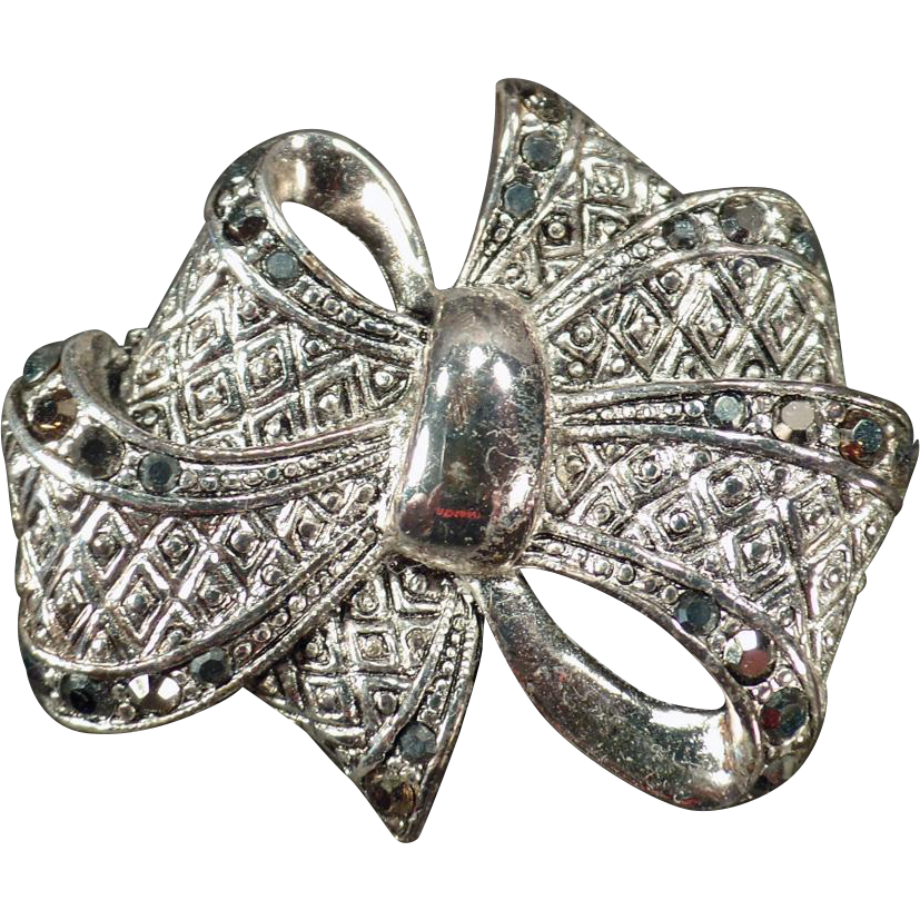 Vintage Bow Pin – Textured Silvertone with Marcasite Accents