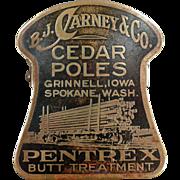 Vintage Advertising Paper Clip - Carney Co. Cedar Poles
