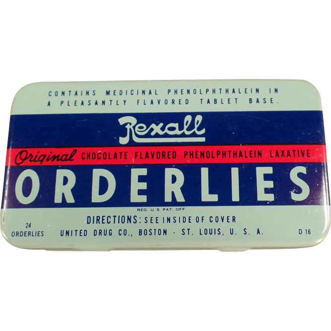 Vintage Laxative Tin - Rexall Orderlies Laxative