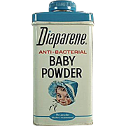 Vintage Talc Tin with Adorable Graphics -  Diaparene Baby Powder Tin