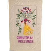 Vintage Christmas Postcard with Embroidered Greeting including Shamrocks