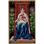 Vintage Christmas Postcard - Beautiful Madonna and Child - Vivid Colors