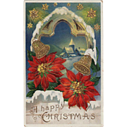 Vintage Christmas Postcard - Colorful Poinsettias and Bells - German